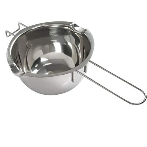 YANSHON Schmelztopf Edelstahl, 600ml Doppel-Boiler, Silber Wasserbad-Schmelzschale, Schmelztiegel für Butter, MetallKerzen-Herstellung, Küchenhelfer