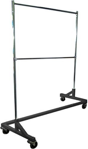 Only Hangers GR600EH Commercial Grade Double Bar Rolling Z Rack with Nesting Black Base