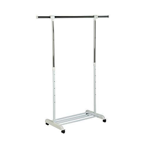 Honey-Can-Do GAR-03265 Adjustable Expandable Garment Rack with Locking Wheels 34 to 53-InchesWhiteChrome