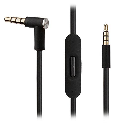 REYTID Ersatz Schwarz Audiokabel Kompatibel mit AKG Y45BT Y50 Y40 Y55 K845BT K840KL Kopfhörer mit In-Line Remote und Mic - Kompatibel mit iPhone und Android