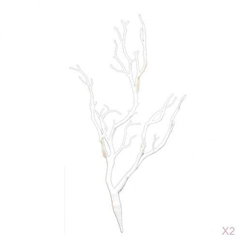 F Fityle 2pcs Künstlicher AST Dekozweig Kunstast Kunstzweig Kunstpflanzen - Weiß