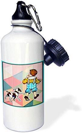 Made in The Highlands – Arte – Collage de niño – Retro Collage de niño y su perro en fondo geométrico botella de agua deportiva de aluminio novedad divertido para hombres mujeres niños Navidad Bithtday regalos