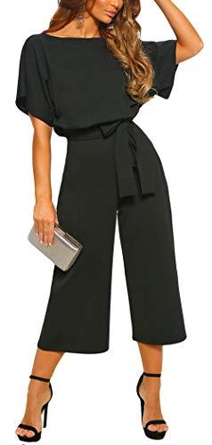CHARTOU Women's Short Sleeve Bow Tie Wide Leg Cropped Capri Romper Palazzo Pants Jumpsuit (Large,Black)