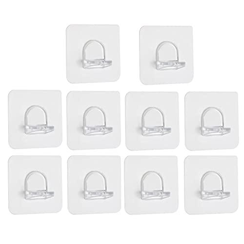 URUNI 10 Pcs Soporte para Tablero De Estante, Perforador, Sin Adhesivo, Clips De Soporte De Carga, Capa De Partición De Armario, Soporte De Gancho De Pasta Fija