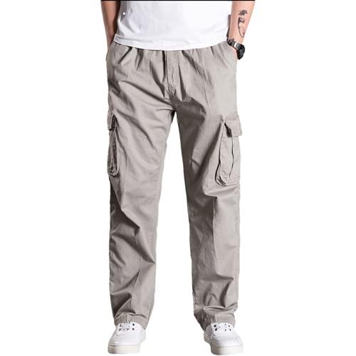 Pantalones de Overoles para Hombre Pantalones de Verano de Talla Grande Sueltos Rectos con mltiples Bolsillos Pantalones Casuales de Moda XL