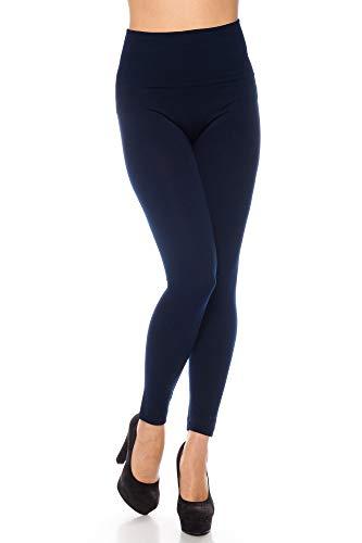 Kendindza Damen Thermo-Leggings gefüttert mit Innen-Fleece Basic Blickdicht, Blau, XXL