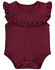 الوليد طفلة الملابس تكدرت أكمام ارتداءها الصلبة playsuit بذلة ملابس ملابس الصيف (Color : Wine Red, Kid Size : 3M)
