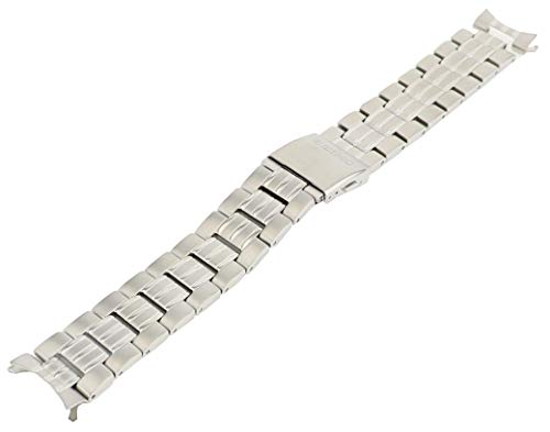 Seiko Stainless Steel Push Button Fold-Over Clasp 20mm Solar Watch Bracelet
