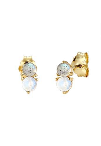 Elli PREMIUM Ohrringe Damen mit Mondstein und Labradorit Edelstein Basic in 375 Gelbgold