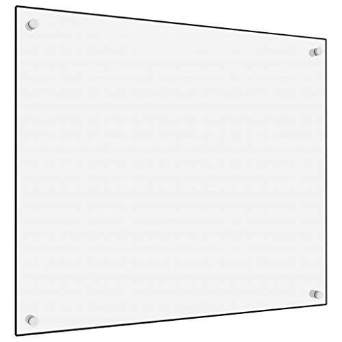 vidaXL Küchenrückwand Spritzschutz Fliesenspiegel Glasplatte Rückwand Herdspritzschutz Wandschutz Herd Küche Weiß 70x60cm Hartglas