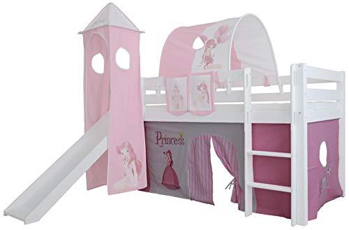 Mobi Furniture 3tlg. Vorhang Set Höhle Princess für Hochbett Spielbett Vorhänge Kinderbett
