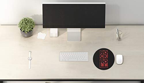 """Ambesonne Music Mouse Pad for Computers, Rock and Roll Typography in Murky Tones Concert Poster Art Vintage, Round Non-Slip Thick Rubber Modern Gaming Mousepad, 8"""" Round, Dark Blue Grey and Vermilion Photo #2"""