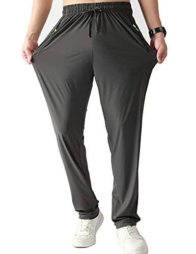 Muaney Men's Casual Workout Athletic Pants Elastic Waist Jogging Running Pants for Men with Zipper Pockets(MenR-Pants6002DarkGray-2-M)