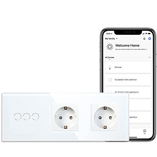 BSEED Enchufe Schuko Normal con Interruptor de Sensor Táctil Smart Alexa WIFI Panel de Vidrio de Enchufe de Alimentación Doble de 16Amp 3 Gang 1 Vía Aplique Blanco