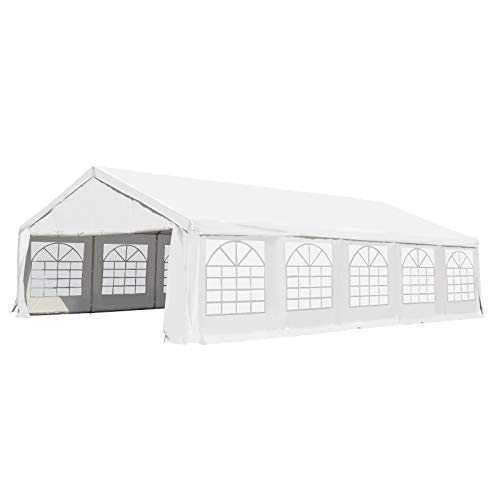 Outsunny 20' x 40' Commercial Party Capony Tent Heavy Duty Gazebo Carport with Removable Sidewalls, White
