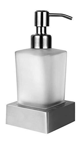 Ambrosya - Seifenspender ohne Bohren - Glas Seife Spender Halter Seifenhalter Seifenschale Bad Küche Toilette WC (Edelstahl (Gebürstet))