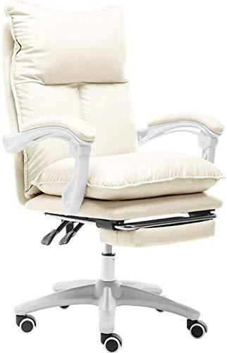 Silla de oficina reclinable, elevador reclinable, rotación, silla para computadora, altura ajustable, silla para deportes electrónicos para el hogar, silla Boss, cómoda, sedentaria (color: blanco) (co