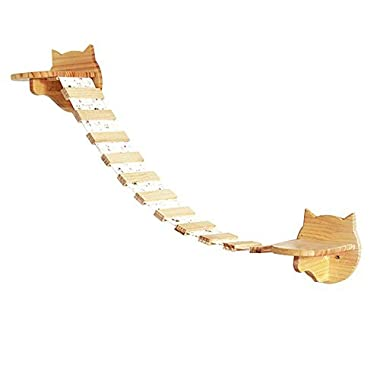 Creation Core 2 Small Wooden Cat Step Cloud Shelves with 31.5 L Raceway Wall Mounted Cat Perches Kitten Climbers
