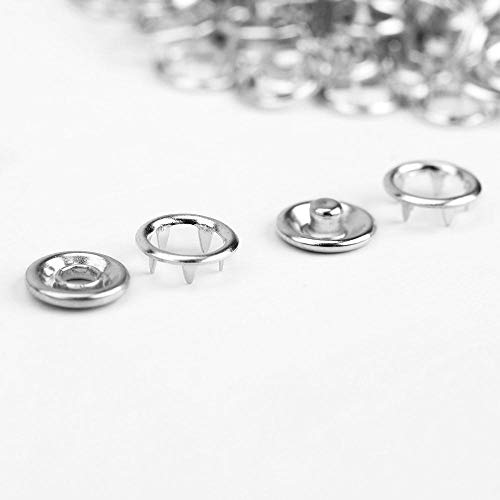 100 x drukknop 9,5 mm persoogjes met 5 klauwen 3,5 mm zilver