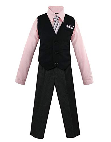 Luca Gabriel Toddler Boys' 4 Piece Pinstripe Vest Shirt Tie Pant and Hanky Set Pink - 3t