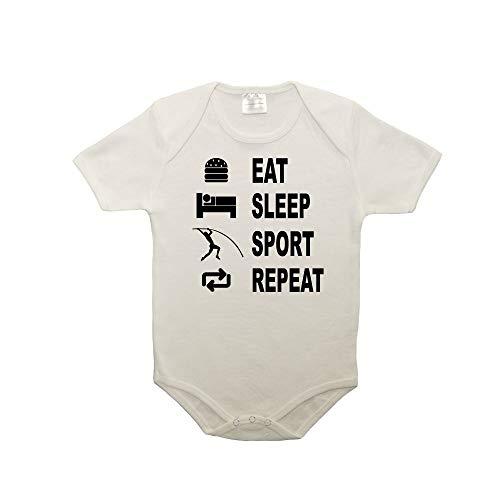 Mygoodprice Body bébé 100% Coton Eat Sleep Saut à la Perche Blanc 18-23 Mois