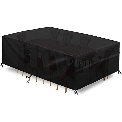 Fundas De Muebles Fundas para Mesas Funda Impermeable para Muebles Cubierta Protectora para Muebles Sillas SofáS Mesas Cubierta De Exterior Color Negro(190 X 117 X 61 Cm)