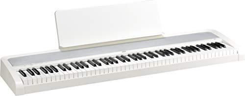 KORG B2 Digitale piano, keyboard, E-piano (met muziekstandaard, demperpedaal en leersoftware om thuis te oefenen), USB Midi/audio-aansluitingen, 88 toetsen, wit