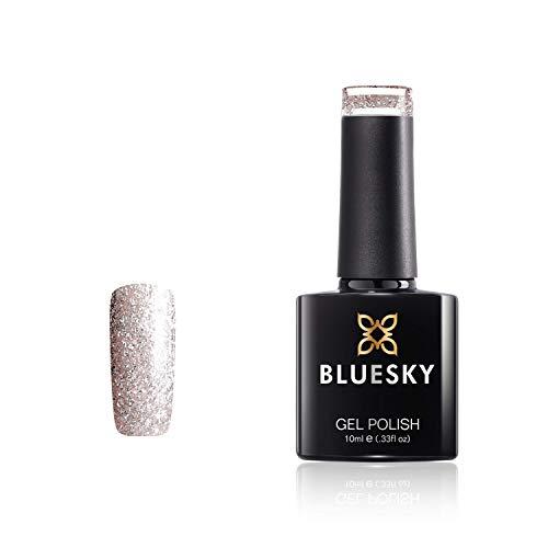 Bluesky Vernis Gel Semi Permanent Cure sous Lampe UV/LED Crystal Clear Argent à Paillettes Miroiter 10 mL