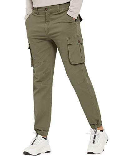PULI Men's Tapered Cargo Pants Slim Fit Chino Joggers Work Trousers with Pockets Army Green 30