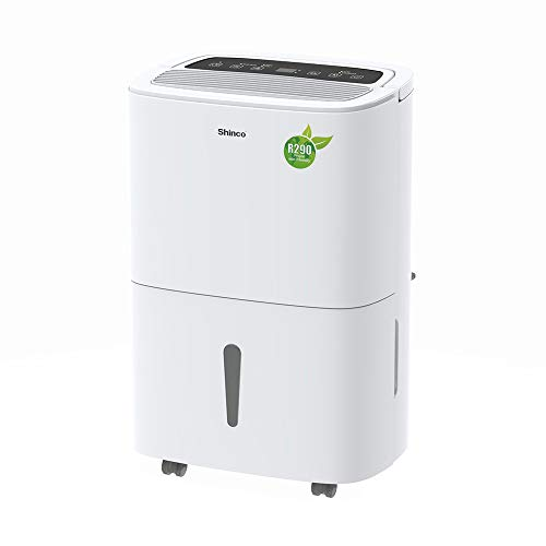 Shinco 20L Tragbarer Luftentfeuchter mit 24h Betrieb, Kontinuierlicher Entwässerung, Trockener Kleidung, Geringer Energiezufuhr, Leise Entfernt Feuchtigkeit für Räume bis 40㎡, gegen Feuchtigkeit