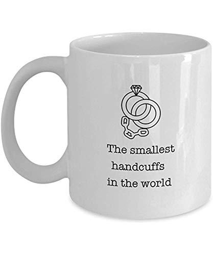 Koffiebeker, de kleinste handboeien in de wereld - grappige verloving koffie mok thee beker, 11 Oz