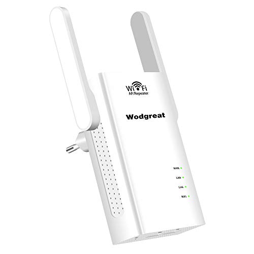 Wodgreat WLAN Repeater Router Wireless Signal Verstärker Mini WiFi Verstaerker Access Point WiFi Range Extender Multifunktion (2 Ethernet Ports,300 Mbit/s,2,4 GHz,Kompatibel mit Allen WLAN Geräten)