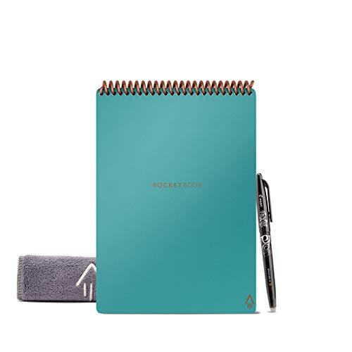 Rocketbook Flip Block Note Digitale Smart – Block Note per Appunti Digitali A5 Azzurro – A Righe/Puntinato – Quaderno Appunti Riutilizzabile – Include Penna Pilot FriXion e Panno per Cancellare