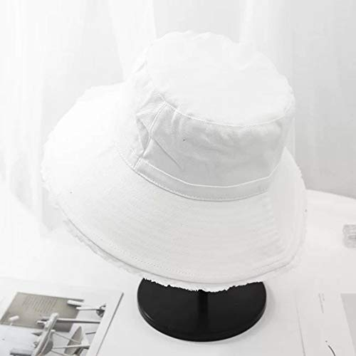 JIACHIHH Sombrero De Pescador Algodón,Primavera Verano Blanco Contraíble Pescador Hat Color Sólido Borde Quebrado Sunscreen Tapa De Cuchara