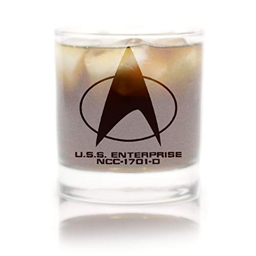 スタートレック 次世代 スターフリートコマンドバッジ ロックガラス スペシャルエディション 宇宙 ホワイトフロストライン プレミアムエッチング ガラス1枚付き 11オンス