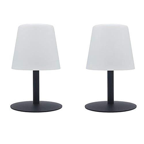 Standy Mini Rock Tischleuchte, kabellos, Stahl, grau, LED, warmweiß/weiß, dimmbar, Höhe 25 cm, 2 Stück