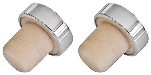 FACKELMANN Chrom Weinflaschenverschluss 3cm 2 Stück aus Kork/Kunststoff, Silber/Beige, 3 cm, 2-Einheiten