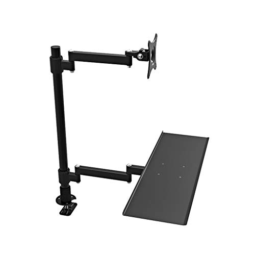 Binnen 24 Inches Single Screen Monitor Mount Bracket Desktop Sit Stand Workstation Monitor Stand Met Keyboard Tray (Color : Black, Size : B)