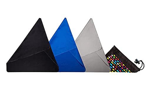 ED HICKS Mikrofaser Reinigungstücher - 3 EXTRA Große Prämie Mikrofaser Tücher für Alle Arten von Bildschirmen- TV, LCD, LED, iPad, Laptop. 30 x 30cm | 3er-Pack | Schwarz, Grau, Blau