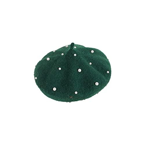 JINSHAO Princesa Kids Girls Caps Berets Encantador Perla Goreros Sombreros Primavera Otoño Invierno Niñas Niñas Sombreros (Color : Green, Size : 2-6Years)