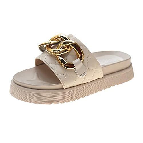 Ririhong Chanclas para Mujer Verano Ropa Exterior One-Flip-Flops Sandalias y Zapatillas de Cadena de Color sólido de Suela Gruesa-Beige_37