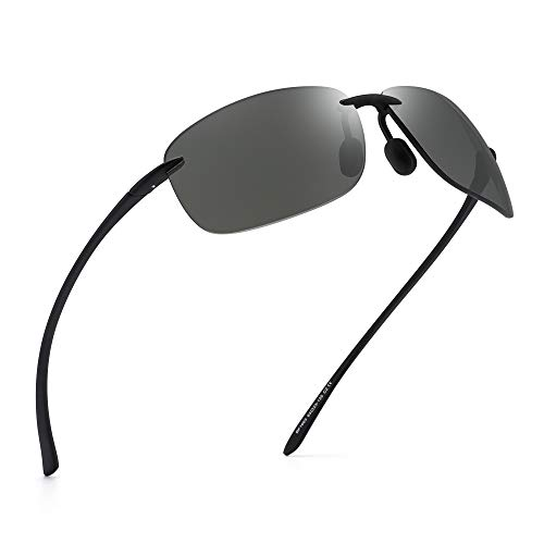 JIM HALO Sport Sonnenbrille für Damen Herren TR90 Randlos Unzerbrechlich Rahmen für Laufen Angeln Baseball Fahren Hellgrau
