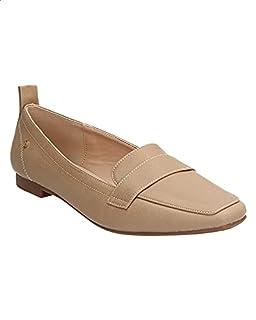 حذاء لوفرز جلد صناعي بطرف مربع مزين بشريط وعروة سحب للنساء من ديجافو