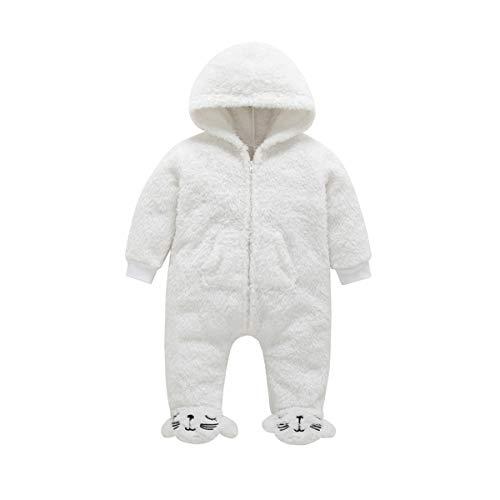 BEIAKE Baby Snowsuit Mameluco con Capucha Infantil Footies Onesies Mono De Franela Ropa De Invierno Trajes Traje De Dormir Grueso De Manga Larga para 0-12 Meses,Blanco,80cm