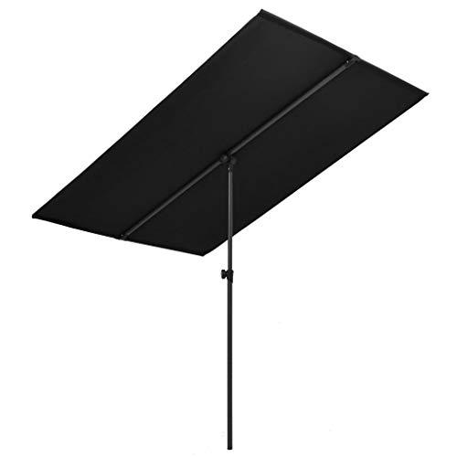 YueStar Sombrilla exterior con poste de aluminio 180x130 cm negro