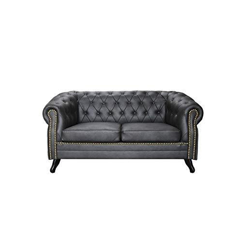 JVmoebel Chesterfield - Sofá acolchado de 2 plazas, piel y tela, color negro