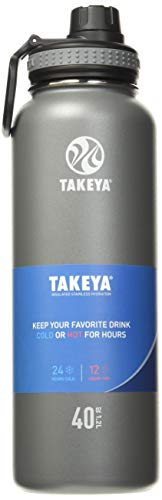 Takeya Originals Vacuum-Insulated Stainless-Steel Water Bottle, 40oz, Graphite (50025)