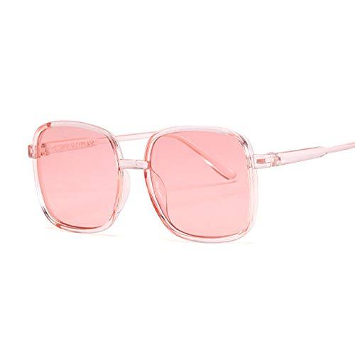 IRCATH Gafas de Sol cuadradas de Moda para Mujer Gafas de Sol para Femenino Marco Grande Color de Jalea Transparente Vintage Rosa Negro Adecuado para la conducción de la Playa y Senderismo-Rosa