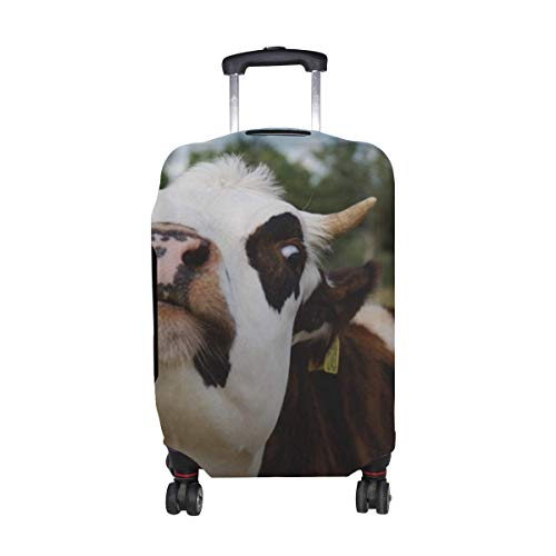 Cow Muzzle Funny Horns Pattern Print Travel Luggage Protector Baggage Suitcase Cover Fits 18-21 Inch Luggage