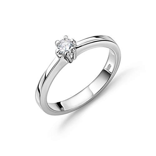 Orovi Schmuck Damen Ring Weißgold 0.10 Ct Solitär Diamant Verlobungsring 14 Karat (585) Gold und Diamant Brillant